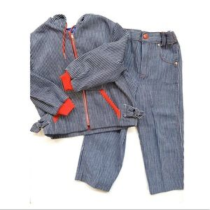 Vintage 70s denim striped jean jacket pants set
